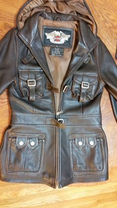 Harley Davidson Classic Genuine Leather Jacket Buckle with Hood Women Petit XL | eBay