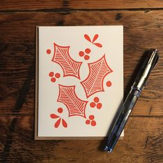 Block Printed Holiday Cards (Set of - Sapori Stationery Holiday Cards, Christmas Cards, Christmas Blocks, Linoprint, Illuminated Letters, Tampons, Linocut Prints, Gravure, Screen Printing