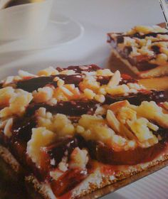 German plum cake made out of a yeast dough, topped with prunes and crumbles - authentic german recipe