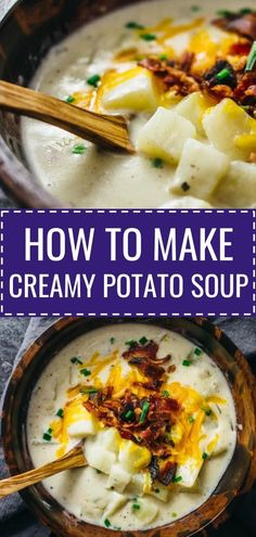 Learn how to make the best creamy potato soup loaded with crispy bacon and cheddar cheese. It's simple, cheesy comfort food that's so easy . Homemade Potato Soup, Cheesy Potato Soup, Loaded Potato Soup, Corn Soup, Cheddar Bacon Potato Soup, Simple Potato Soup, Crock Pot Potato Soup, Best Potato Soup, Fast Dinner Recipes