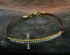 MIN Favorit Rhinestone Crystal Faith Gold Cross w Simple Leather Band Bracelet | eBay