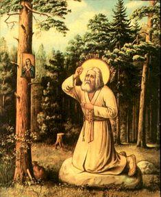 The spiritual path of Saint Seraphim of Sarov Sainte Cecile, Sign Of The Cross, Saint Esprit, Russian Icons, Orthodox Christianity, Catholic Saints, Orthodox Icons, Dear God, Religious Art