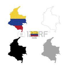 Colombia país silueta de color negro y con la bandera en el fondo, aislado en blanco