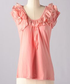Take a look at this Lobster Bisque Make Believe Silk-Blend Top by Down East Basics on #zulily today!