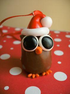 Big Eye Owl Polymer Clay Charm. sculpt. christmas ornament. cute. gift. animal. make me
