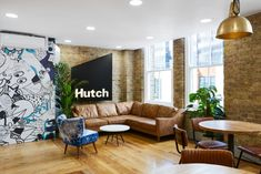 AIS has created a bespoke and fun workplace for video game developer, Hutch Games, located in London, England. Hutch is a collective of passionate Office Reception Design, Work Office Design, Office Lounge, Modern Office Design, Office Interior Design, Modern Offices, Reception Desks, Modular Lounges, Interior Design Portfolios