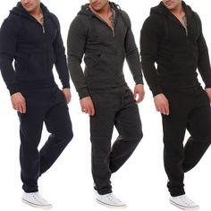 Just $18.93, Buy 2 PCS Mens Tracksuit Hooded Sweat Suit Clothes Cotton V-Neck Zipper Coat+Pants Black Grey