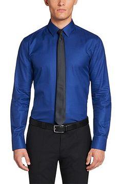 Camicia Slim-Fit in cotone: 'Elisha', Blu