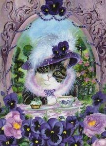 €1 Kupillinen minttuteetä, kiitos Snow Globes, Cats, Cat Illustrations, Painting, Elegant, Decor, Classy, Gatos, Chic