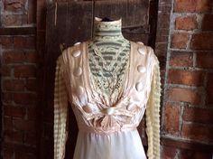 Edwardian Gown Blush Pinkecru netting Dress wedding by MISSIONMOD, $700.00