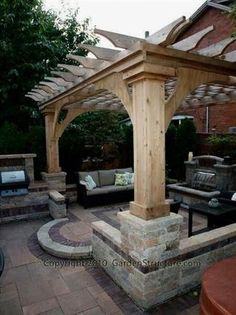 Overland-Park-Pergolas-and-Outdoor-Kitchens #pergolaplans #backyardpergola #OutdoorLivingSpaces #pergolafirepit ...or professional appearance and long-lasting performance.Although many different pergola ideas are available for all tastes and landscapes every shelt...ation the main structure of beams and columns and infill. The infill is what spans between the beams to give shade.Building a pergola is not difficu #diy.diypergoladesigns.com #landscape-pergola-plans #pergolas Building A Pergola, Pergola Canopy, Metal Pergola, Deck With Pergola, Wooden Pergola, Outdoor Pergola, Backyard Pergola, Pergola Shade, Patio Roof
