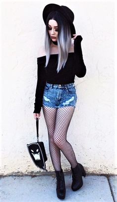 Black round hat with bardot top, denim shorts, oversized fishnet tights & black lace-up platform boots by xdeceiver