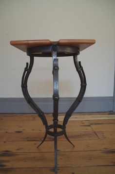 A bespoke and hand forged lamp stand, or side table. A one off item of handmade furniture, by Tom Fell - Blacksmith https://www.etsy.com/listing/208080989/lamp-stand-side-table-handmade-ironwork