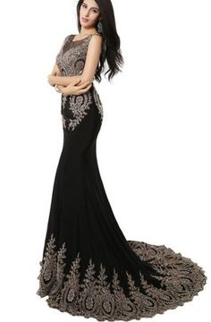 Elegant Mermaid Scoop Sweep Train Bridesmaid/Prom/Homecoming Dress With Embroidery TTHC0017