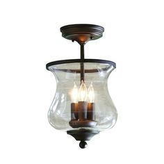 Lowes - allen + roth Yately 8.68-in W Aged Bronze Clear Glass Semi-Flush Mount Light Item # 587005 Model # B10029