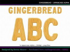 cu4cu GINGERBREAD Uppercase Alpha by Donna Weaver Ah, can?t you just smell the gingerbread baking in the oven?! This tasty alpha would be great not only for your Christmas projects, but also baking projects and many others!      Included is one full character set as specified in the title. All characters are individual files in png format. Click my name to see more of my products, including corresponding alphas that match this one.    If you would like a single word (such as a name) created…