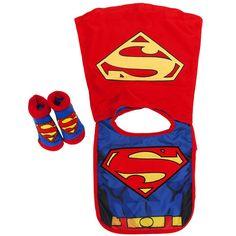 Superman Baby Bib and Bootie Set