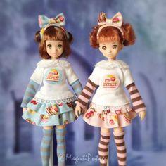 るるこさんズにポタージュの服着てもらったシリーズ♪「ケーキとボーダーのコーデセット http://maguti.blog10.fc2.com/blog-entry-316.html…」です #ruruko