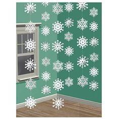 6 Schneeflocken Girlanden 6 x 213 cm, Motiv 10 x 10 cm Schneeflocke Winterdeko Winter Girlande Dekoration Weihnachten Raumdekoration: Amazon.de: Spielzeug
