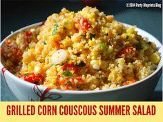 Grilled Corn Couscous Summer Salad | PartyBluPrints.com
