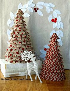 burlap trees | Red Burlap Christmas Trees -thecharmofhome.blogspot.com