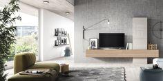 Salón - comedor de tendencia con un toque clásico Netro Bedroom Wall Units, Living Room Wall Units, Living Room Designs, Living Spaces, Modern Tv Wall Units, Tv Stand Designs, Tv Unit Design, Space Interiors, Apartment Interior