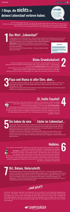 Infografik: Diese 7 Fehler solltest du in deinem Lebenslauf vermeiden The Effective Pictures We Offer You About career options A quality picture can tell you many things. You can find the most beautif Cv Inspiration, Thats The Way, New Job, Personal Branding, Better Life, Good To Know, Life Hacks, Coaching, Knowledge