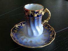 4:00 Tea . . . Limoges . . . Cobalt and Gold Gilt demitasse cup and saucer, 1890's