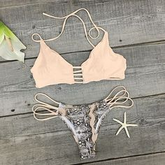 Padded Printed Pink Bikini Set