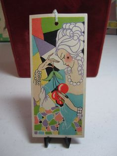Gorgeous unused art deco 1930's colorful bridge tally card deco lady with star…