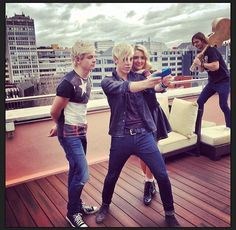 So Riker Rydel and Ross are just like SELFIE!! While Rocky is climbing on furniture with a guitar over his shoulder..