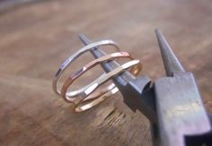 Set Of 3 Hammered Rings - Rose Gold, Yellow Gold, Sterling Silver, 3 Skinny Hammered Ring Set, Stacking Ring, Gold Filled Hammered Ring