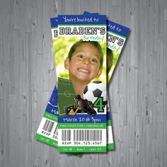 """This is a good idea to make """"ticket"""" invitations Soccer Birthday Parties, Sports Birthday, Soccer Party, Boy Birthday, Birthday Ideas, Football Ticket, Youth Football, Kids Soccer, Pep Rally"""