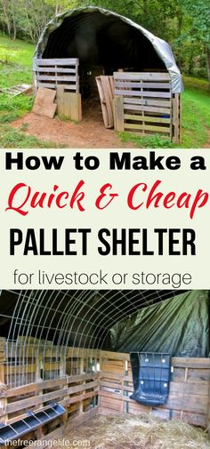 Learn how to make a quick shelter out of pallets! Great for a run-in barn for goats, alpacas or any other farm animal! You can even use it for storage or alter the plans to make a green house.