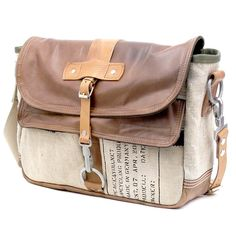 Trendy Leather Messenger Bag // Handmade & Upcycled by peace4you, GERMANY // Model paul-2065