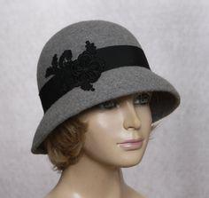 Tiffany, Fur Felt Cloche, millinery hat, Downton Abbey era, grey heather on Etsy, $175.00