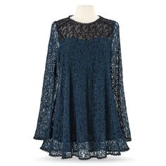 Teal Lace Tunic – Women's Romantic & Fantasy Inspired Fashions - Women Dresses Kebaya Lace, Kebaya Dress, Lace Tunic, Lace Dress, Dressy Lace Tops, Lacy Tops, Lace Top Outfits, Unique Clothes For Women, Mode Hijab