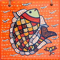 Dancing fish with dot painting ! India Pattern, Madhubani Art, Indian Folk Art, Madhubani Painting, Needlepoint Designs, Indigenous Art, Fish Art, Geometric Designs, Fabric Art