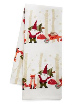 Girl, You Gnome It's True Tea Towel. Truth be told, you almost squealed at the sight of this white tea towels whimsical woodland scene! #gold #prom #modcloth