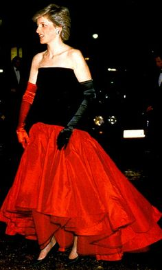 A red-black gown worn by the Princess of Wales in 1987.