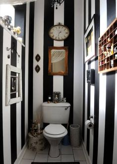guest bathroom idea in monochromatic vertical stripes theme two piece toilet in white some framed wall arts white ceramic tiles floors of Great Choices of Fancy Colors for A Small Bathroom Wc Decoration, Black White Bathrooms, Powder Room Decor, Goth Home, Gothic House, Gothic Room, Gothic Art, Gothic Home Decor, My New Room