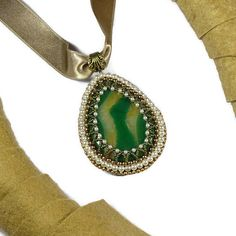 """Thesaurus"" Collection by MemetJewelry - Brown & Green Pendant"