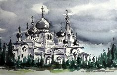 LAURA CLIMENT : CIELO DE RUSIA. -  Watercolor Russian Painting, Meli Melo, Museum, Watercolor, Inked Girls, Architecture, Paintings, Woman, Tattoos