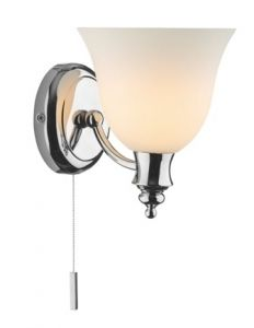 Traditional Ip44 Halogen Bathroom Wall Light Complete With Pull Switch And Lamps