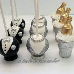 New Years Anniversary party cake pops - Silver set