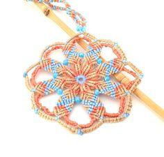 Collana fiore #mandala #macrame made in Italy boho di #morenamacrame #yoga #necklace #modernmacrame