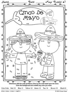 "Math ""May""hem: May Math Printables ~ Color By The Code Puzzles To Practice Addition and Subtraction Facts.  ~This Unit Is Aligned To The CCSS. Each Page Has The Specific CCSS Listed.~  This set includes 8 math puzzles....Spring, Mother's Day, Cinco de Mayo!  Set also includes 8 answer keys for the 8 puzzles. $"
