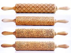 Watch out cookie dough, it's about to get real.   Laser-engraved rolling pins by Zuzia Kozerska. http://etsy.me/1cQ970h
