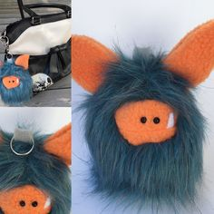 Blue and orange purse sized Fuzzling - the perfect little monster to take with you on your daily adventures!