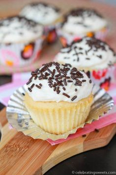 Small Batch Vanilla Cupcakes - Celebrating Sweets✔ I topped these with baked apples instead of frosting...sooo good
